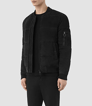 Mens State Suede Puffer Jacket (Washed Black) - product_image_alt_text_4