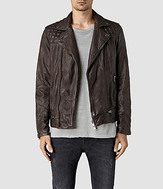 Mens Conroy Leather Biker Jacket (Bitter Brown)