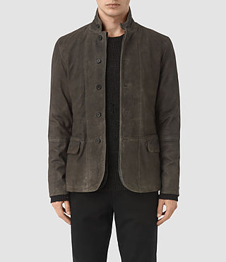 Mens Emerson Leather Blazer (Cement)