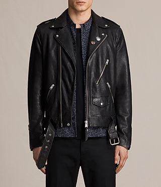 Hombres Volt Leather Biker Jacket (Black)