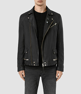 Hombre Daxon Leather Biker Jacket (Black)
