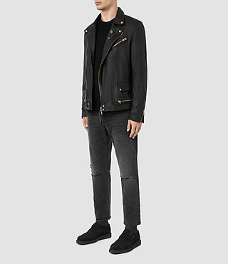 Hombres Daxon Leather Biker Jacket (Black) - product_image_alt_text_2