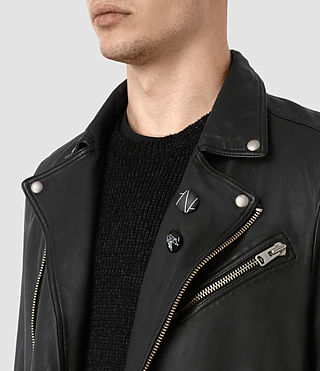 Men's Daxon Leather Biker Jacket (Black) - product_image_alt_text_3