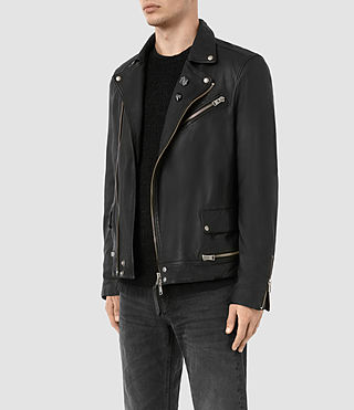 Hombres Daxon Leather Biker Jacket (Black) - product_image_alt_text_4