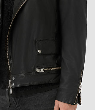 Hombres Daxon Leather Biker Jacket (Black) - product_image_alt_text_5