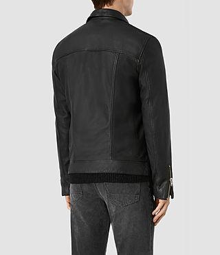 Hombres Daxon Leather Biker Jacket (Black) - product_image_alt_text_6