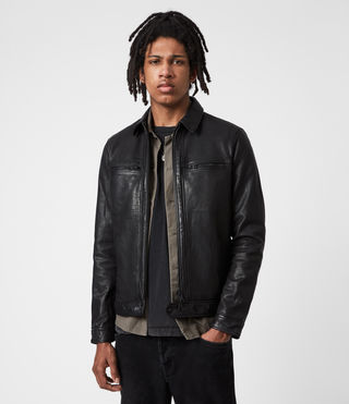 Hommes Lark Leather Jacket (Black)