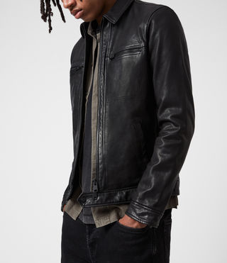 Men's Lark Leather Jacket (Black) - product_image_alt_text_4