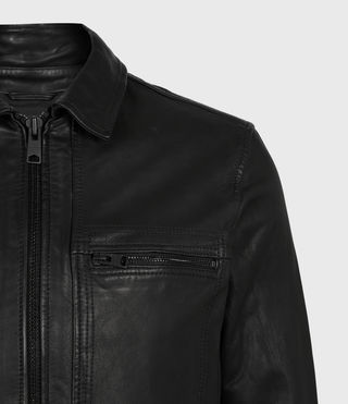 Men's Lark Leather Jacket (Black) - product_image_alt_text_5