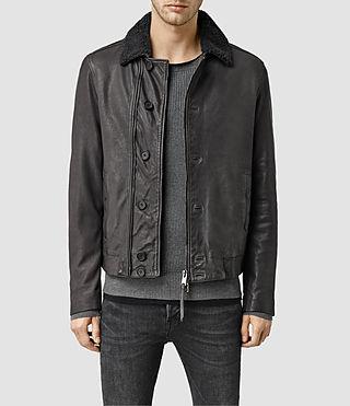 Mens Mortar Leather Biker Jacket (ANTHRACITE GREY)