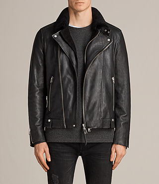 Hombres Prospect Leather Biker Jacket (Black)