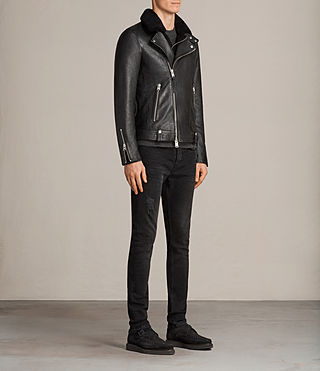 Men's Prospect Leather Biker Jacket (Black) - Image 3