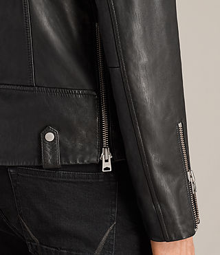 Men's Prospect Leather Biker Jacket (Black) - Image 4