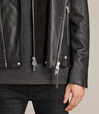 Men's Prospect Leather Biker Jacket (Black) - Image 5