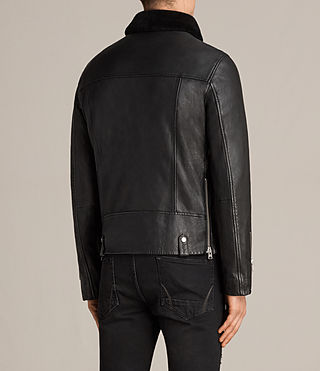 Men's Prospect Leather Biker Jacket (Black) - Image 9