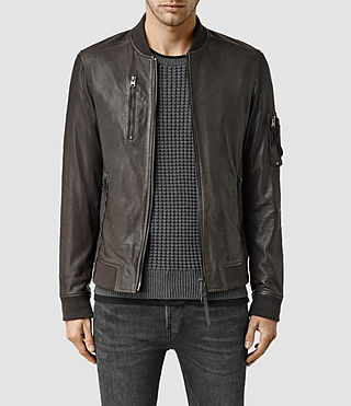 Mens Debeauvoir Leather Bomber Jacket (ANTHRACITE GREY)