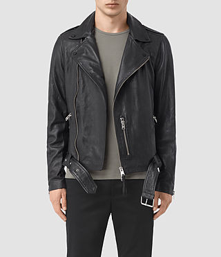 Hombres Kahawa Leather Biker Jacket (INK NAVY)