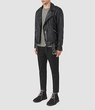 Mens Kahawa Leather Biker Jacket (INK NAVY) - product_image_alt_text_2