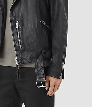 Hombres Kahawa Leather Biker Jacket (INK NAVY) - product_image_alt_text_3