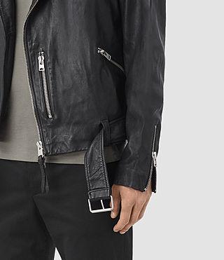 Mens Kahawa Leather Biker Jacket (INK NAVY) - product_image_alt_text_3