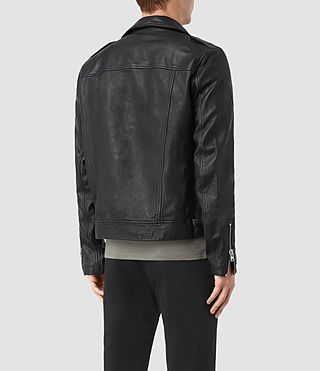 Mens Kahawa Leather Biker Jacket (INK NAVY) - product_image_alt_text_6