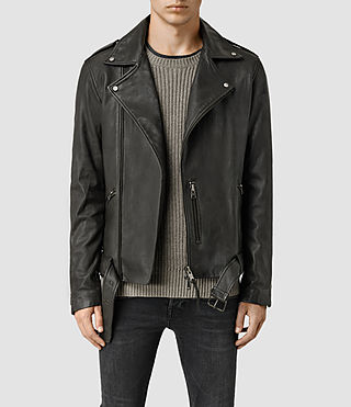 Hommes Kahawa Leather Biker Jacket (ANTHRACITE GREY)