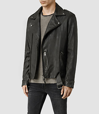 Mens Kahawa Leather Biker Jacket (ANTHRACITE GREY) - product_image_alt_text_2