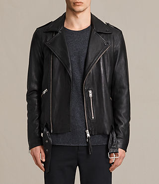 Hombres Kahawa Leather Biker Jacket (Jet Black)