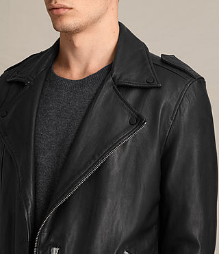Herren Kahawa Leather Biker Jacket (Jet Black) - product_image_alt_text_2