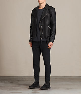 Herren Kahawa Leather Biker Jacket (Jet Black) - product_image_alt_text_3
