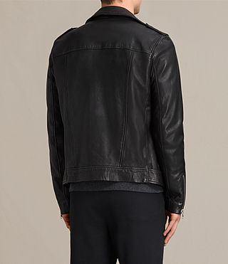Men's Kahawa Leather Biker Jacket (Jet Black) - product_image_alt_text_7