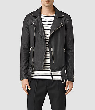 Hombre Kahawa Leather Biker Jacket (Black)