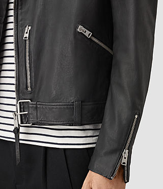 Mens Kahawa Leather Biker Jacket (Black) - product_image_alt_text_2