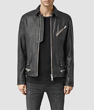 Mens Belmont Leather Biker Jacket (Black)