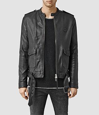 Mens Dorset Leather Biker Jacket (Black)