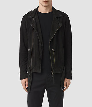 Hombres Takeo Suede Biker Jacket (Washed Black)