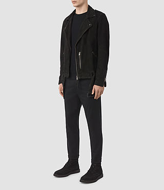 Men's Takeo Suede Biker Jacket (Washed Black) - product_image_alt_text_2