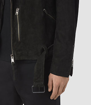 Men's Takeo Suede Biker Jacket (Washed Black) - product_image_alt_text_3