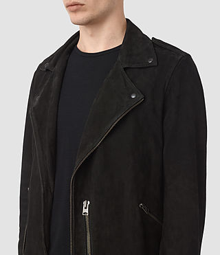 Hombres Cazadora biker de ante Takeo (Washed Black) - product_image_alt_text_4