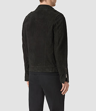 Men's Takeo Suede Biker Jacket (Washed Black) - product_image_alt_text_5