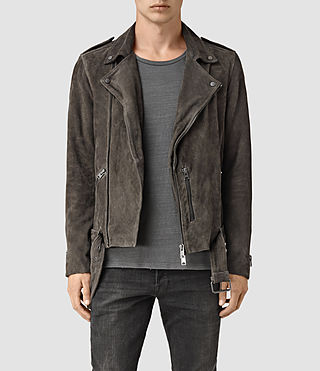 Mens Takeo Suede Biker Jacket (ANTHRACITE GREY)