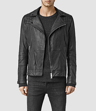 Hombre Kushiro Leather Biker Jacket (Black) - product_image_alt_text_1