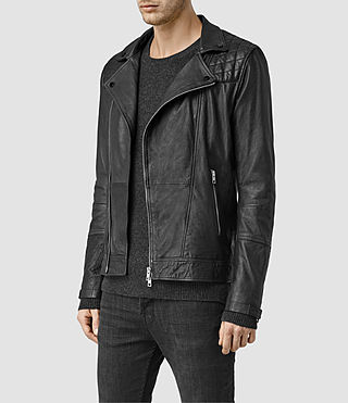 Hombre Kushiro Leather Biker Jacket (Black) - product_image_alt_text_2