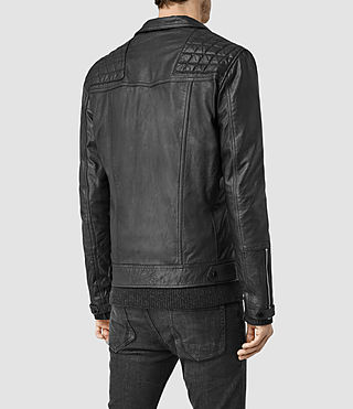 Hombre Kushiro Leather Biker Jacket (Black) - product_image_alt_text_3