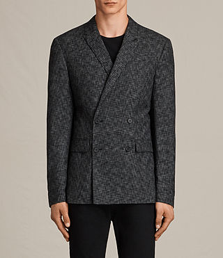 Men's Farndale Double-Breasted Blazer (Black/Grey) - Image 1