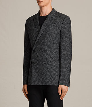 Men's Farndale Double-Breasted Blazer (Black/Grey) - Image 3