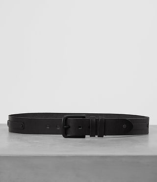 Uomo Strap Leather Belt (Black)