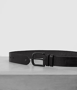 Mens Strap Leather Belt (Black) - product_image_alt_text_3