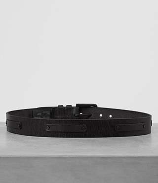 Hombres Strap Leather Belt (Black) - product_image_alt_text_4