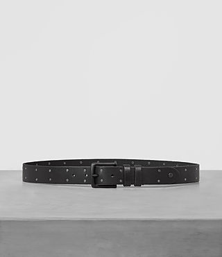 Mens Troop Slim Leather Belt (Jet Black) - product_image_alt_text_1